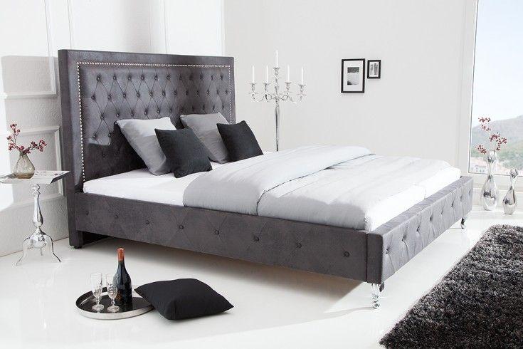 Chesterfield Doppelbett Extravagancia 180x200cm Antik Grau