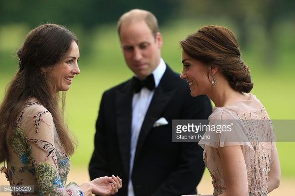 HRH Prince William and Catherine, Duchess of Cambridge are greeted by Rose Cholmondeley, the Marchioness of Cholmondeley as they attend a gala dinner in support of East Anglia's Children's Hospices'...