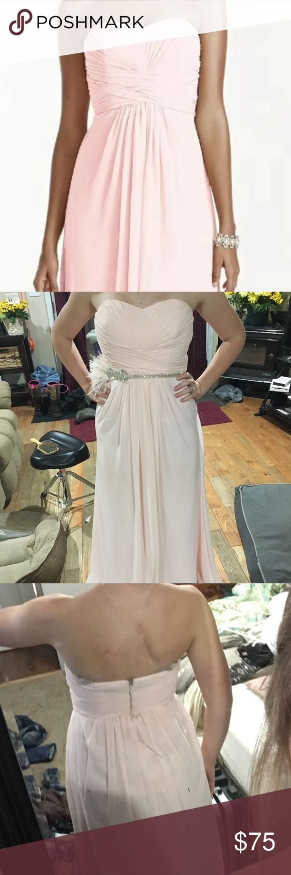 Davids bridal bridesmaids dress Petal Davids bridal bridesmaid stress in petal pink. Size 6. No alterations done. May have small spots on the bottom from being worn, but not noticeable. David's Bridal Dresses Strapless