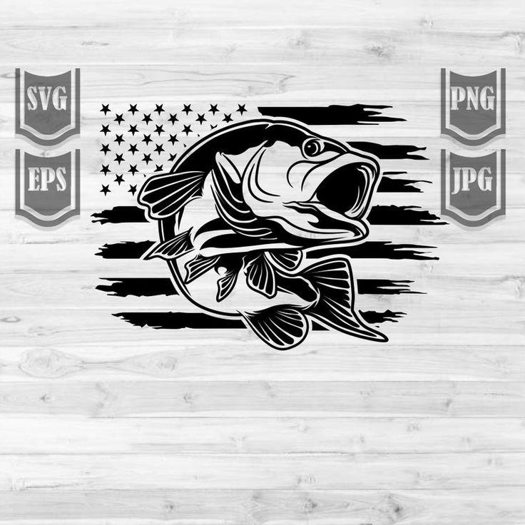 Bass Fishing USA Svg File US Flag Bass Fish USA bass
