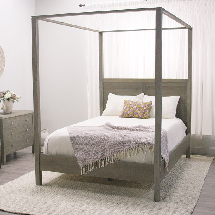 Gray Marlon Queen Canopy Bed Modern Farmhouse Cost Plus And Rustic