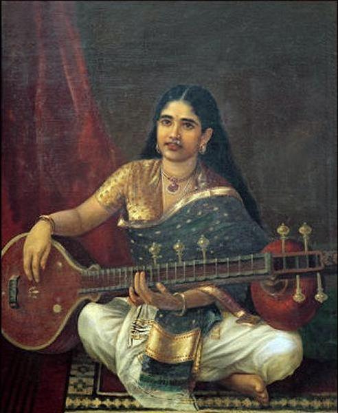 Woman With Veena by Raja Ravi Varma (1848-1906, India)                                                                                                                                                                                 More