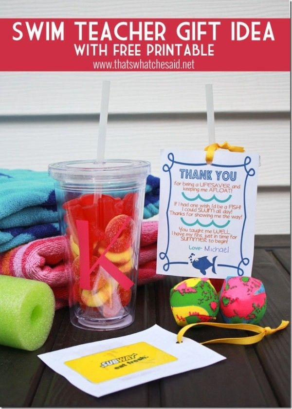 Swim Teacher Gift Idea | TodaysCreativeBlog.net
