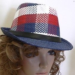 Red, white, and blue combine in a plaid print in these fashion fedora hats with a solid color brim.  http://www.awnol.com/store/Hats/Wholesale-Fashion-Hats