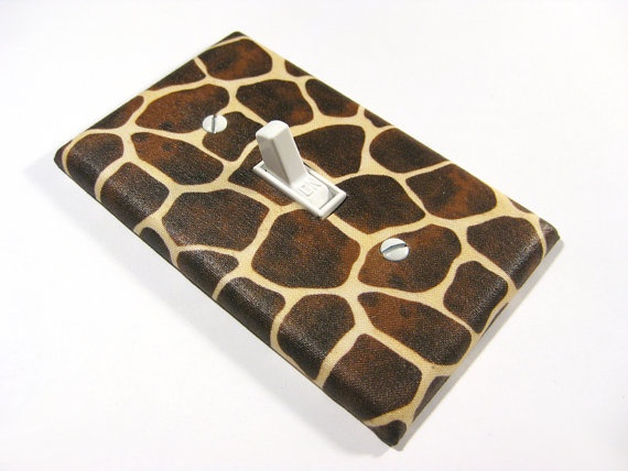 Jungle Bedroom Decor Giraffe Print Light Switch by ModernSwitch, $6.00