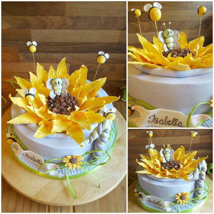 Torte Sonnenblume mit Bienchen und Schmetterling zum 1. Geburtstag