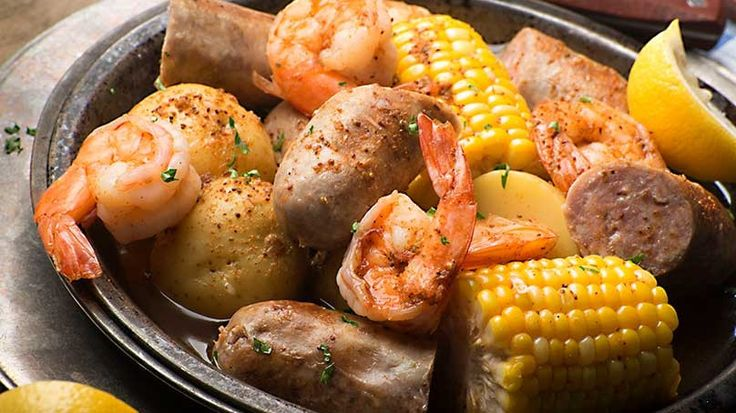 This family-style recipe blends the flavors of grilled brats with potatoes, sweet corn and jumbo corn, all generously seasoned.