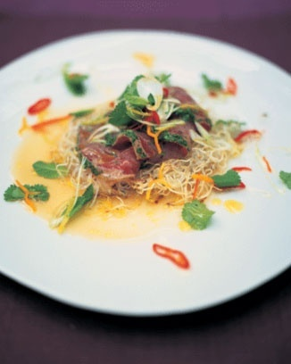 citrus-seared tuna with crispy noodles, herbs and chilli food-and-drink