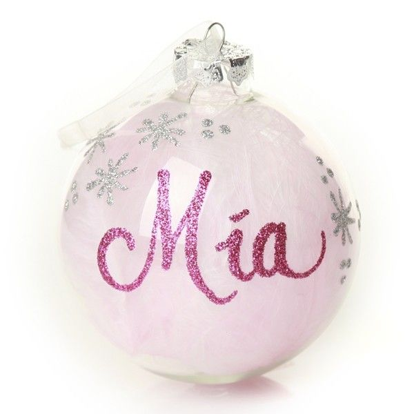 Personalised Bauble | Pink Feather Clear Glass Personalised Christmas Bauble