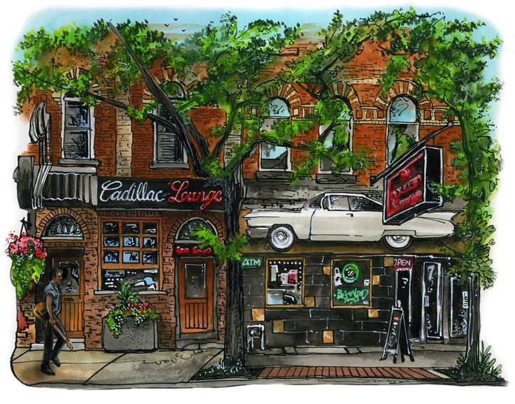 Cadillac Lounge, Toronto, by Artist Illustrator David Crighton Art