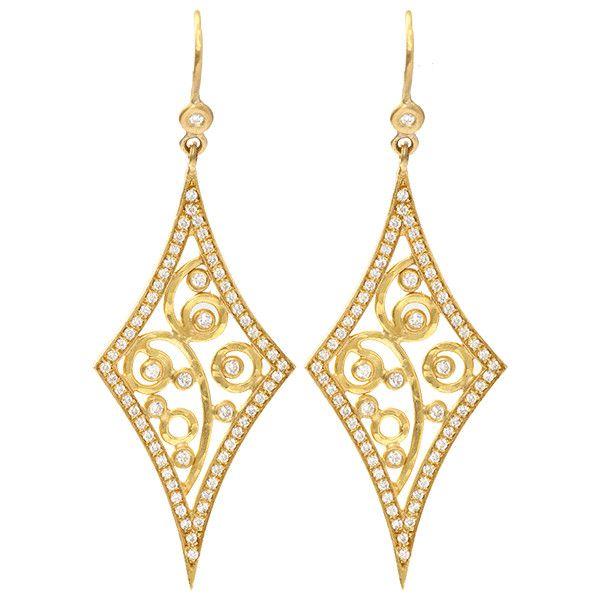 Annie Fensterstock Diamond Shape Earrings ($5,173) ❤ liked on Polyvore featuring jewelry, earrings, accessories, brincos, 18k gold jewelry, gold jewelry, 18k gold jewellery, earring jewelry and yellow gold jewelry