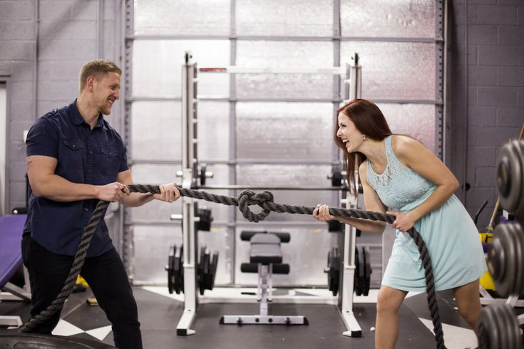 Gym Themed Engagement Photos. Fitness Theme Engagement Pictures. B Focused Photography & Design