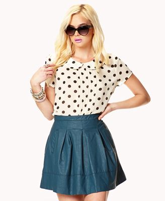 Polka Dot Collar Top