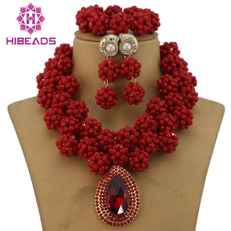 Amazing Sharp Red African Costume Jewelry Set Indian Bridal Jewelry Set Nigerian Wedding Beads Free Shipping GS145