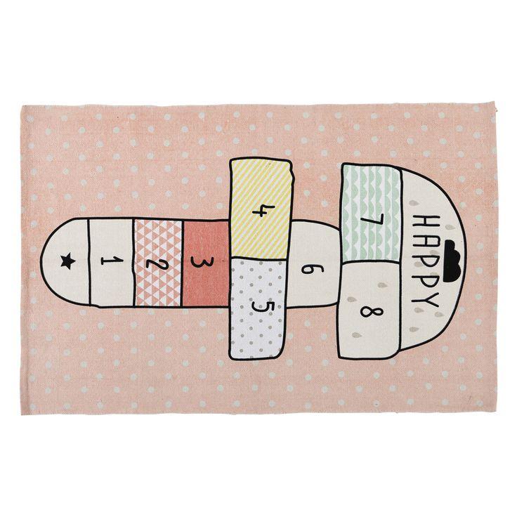 Tappeto rosa in cotone con gioco di campana 120 x 180 cm HAPPY