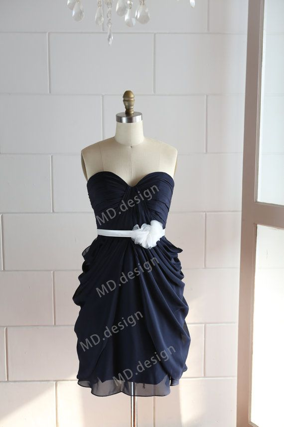 Navy Blue Chiffon Bridesmaid Dress Prom Dress Strapless Sweetheart Knee Short Dress with Ivory Flower Sash Kendell, if you love me, you will love this and want to put it on and dance around for the rest of your life.