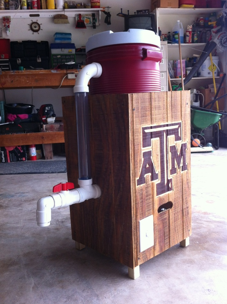 Aggie engineering at its finest! Fightin' Texas Aggie homemade Margarita machine! Tailgate tested and approved.