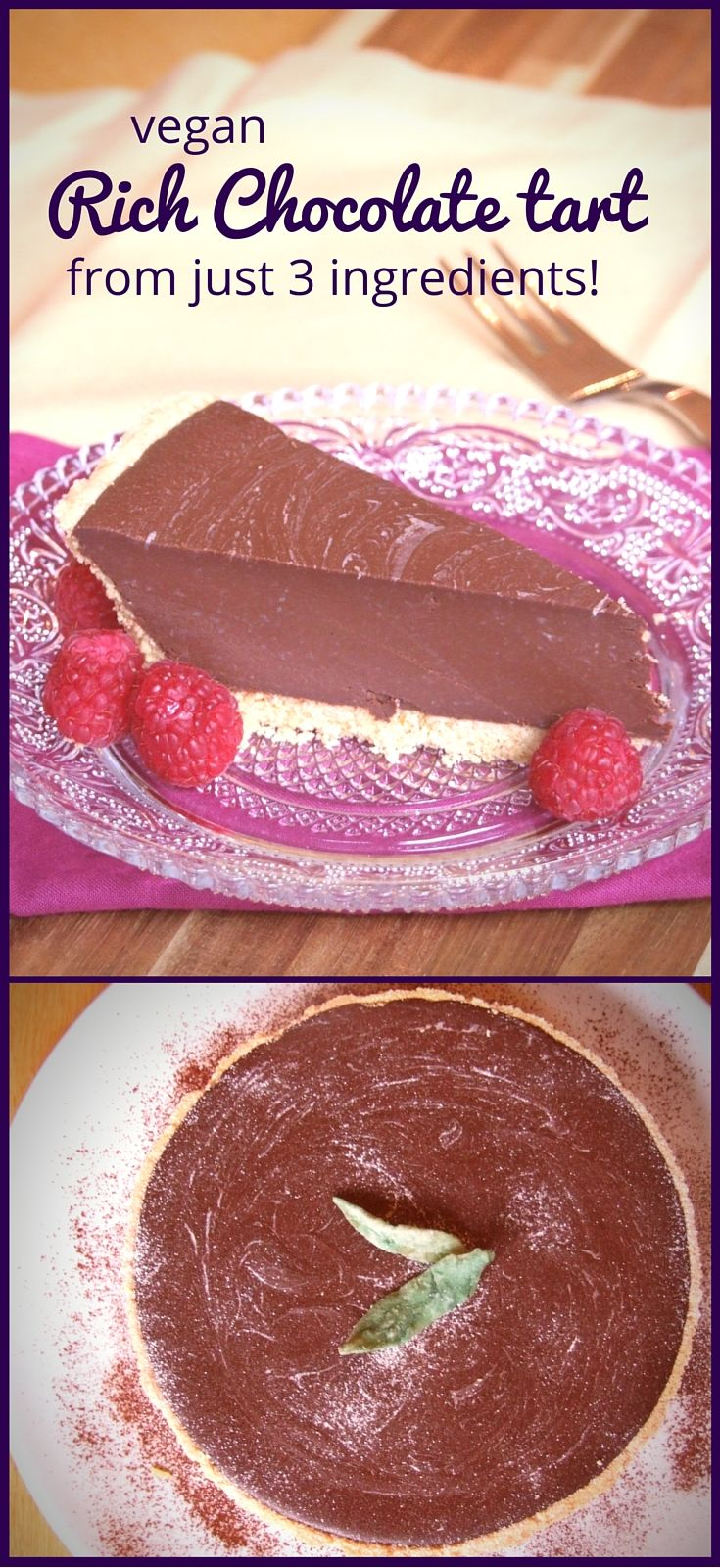 Rich, smooth, creamy, dense, sublimely chocolatey... this vegan chocolate tart is just gorgeous! No-one will believe it only took 10 minutes & 3 ingredients to make!