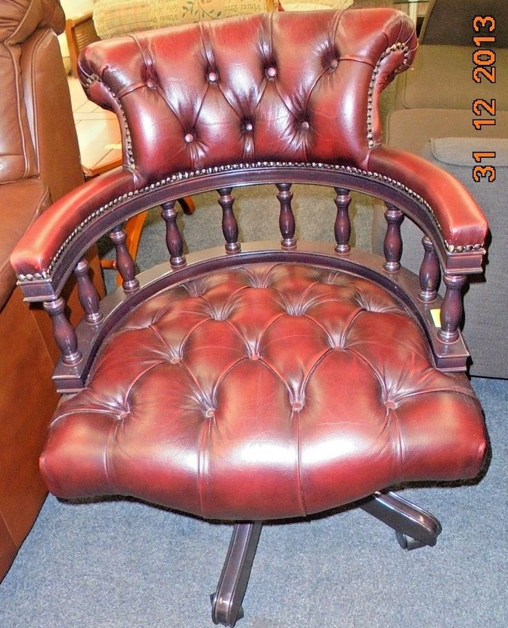 Chesterfield oxblood red leather dark mahogany captains