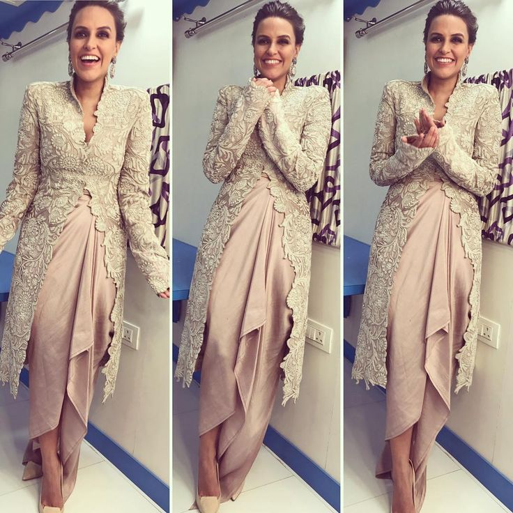 "Neha Dhupia in an outfit by Anamika Khanna in Mumbai. She was promoting her upcoming movie ""Moh Maya Money"" on a talk show Picture: Instagram"