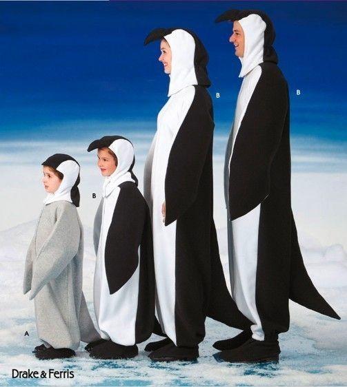 PENGUIN FAMILY Costume Pattern - Adult & Child Penguins Halloween Costumes