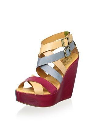 68% OFF Kork-Ease Women's Hailey High Wedge Sandal (Berry Blue Multi)