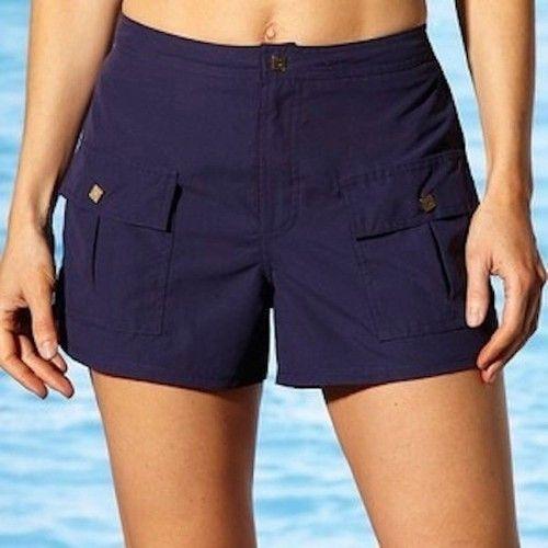 Details About Womens Liz Claiborne Board Shorts Swim Navy