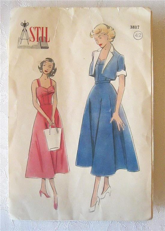 Vintage Retro 40-50-tal Symönster STIL Klänning & bolero storlek 42