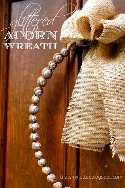 """That's My Letter: """"A"""" is for Acorn Wreath, glittered acorn wreath"""