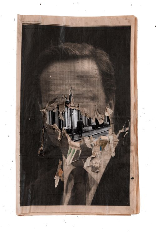 Cat Phillipps and Peter Kennard. Entitled Blue Murder, the exhibition investigates social decline and conservative ideologies that exist in contemporary society. By utilizing deprived materials such as newsprint, charcoal and ink, the artists have ripped away at layers to reveal the destruction of the welfare state.