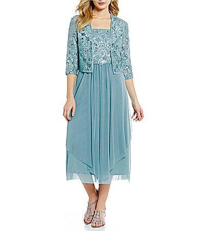 RandM Richards Rosette Lace Chiffon Jacket Dress #Dillards