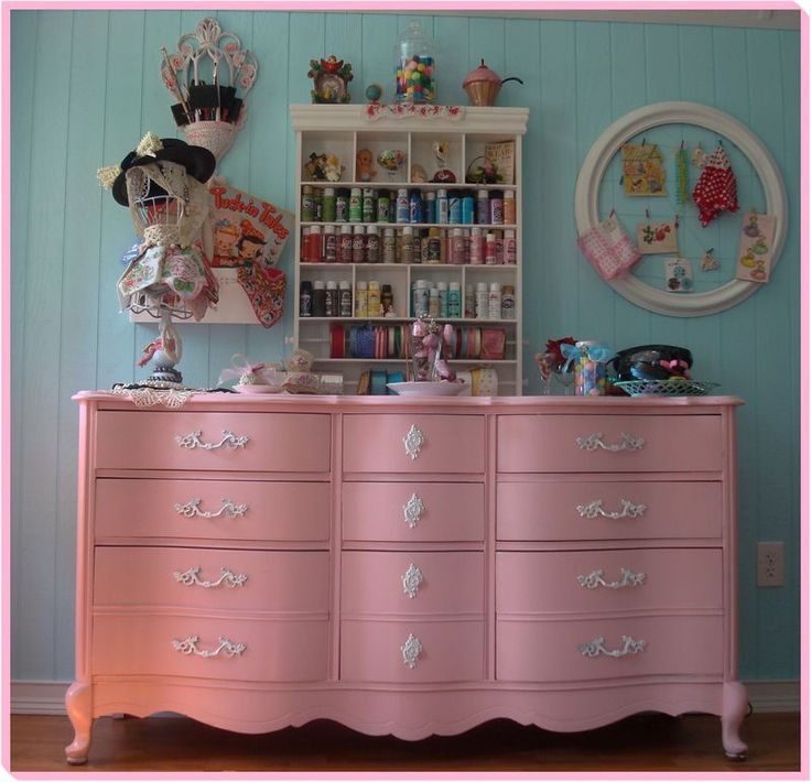 Pink Storage Bins Girls Flower Drawers Chest Dresser: Painted Pink French Provincial Dresser- I Wish I Had All