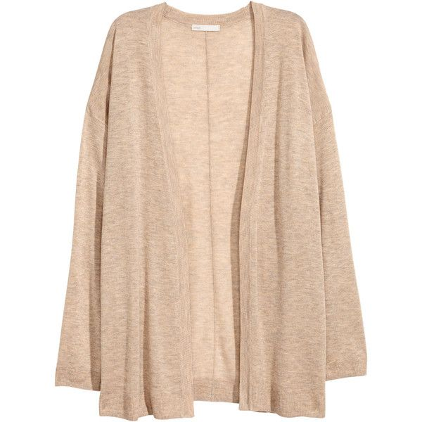 Fine-knit Cardigan $17.99 ($18) ❤ liked on Polyvore featuring tops, cardigans, sweaters, long sleeve cardigan, beige cardigan, beige long sleeve top, long sleeve tops and beige top