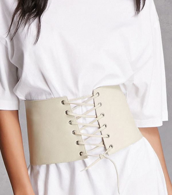 Forever 21 Lambskin Lace Up Corset