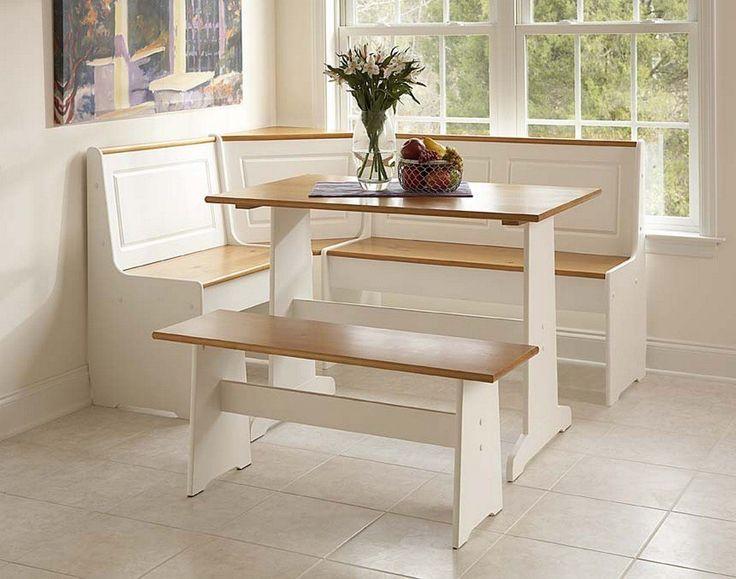 Amazon.com - Corner Nook Set in White & Natural Finish - Dining Room Furniture Sets