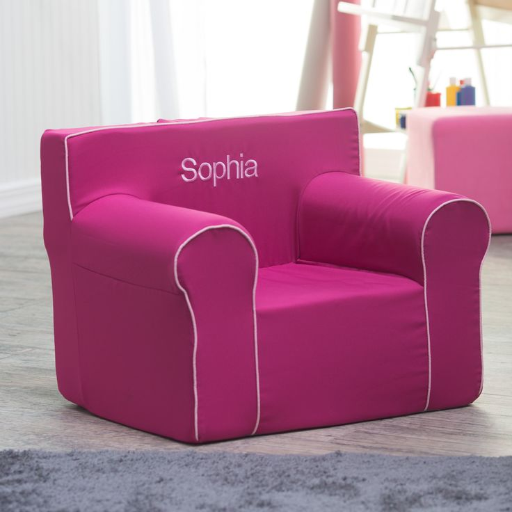 Have to have it. Here and There Personalized Kids Chair  - Fuchsia Canvas with Light Pink Piping - $109.99 @hayneedle