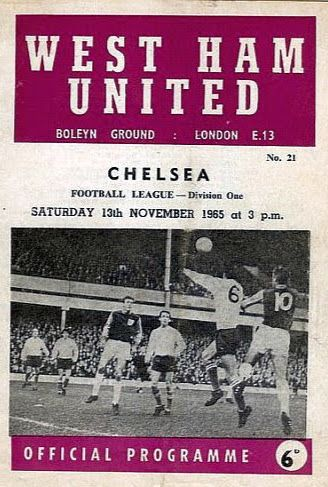 West Ham 2 Chelsea 1 in Nov 1965 at Upton Park. The programme cover #Div1
