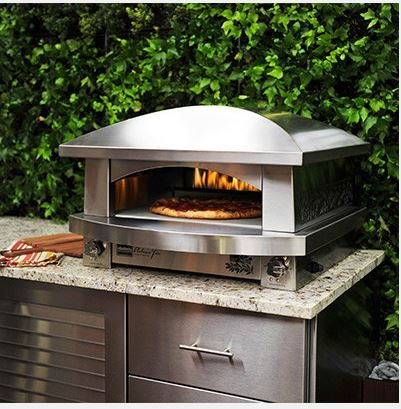 Kalamazoo Outdoor Artisan Fire Pizza Oven Kalamazoo Outdoor Gourmet brings old-world pizza oven cooking to the modern outdoor kitchen with this stainless steel gas-fired pizza oven.