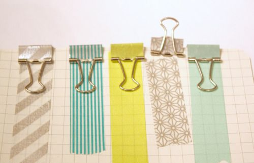 tiny binder clips covered with washi tape