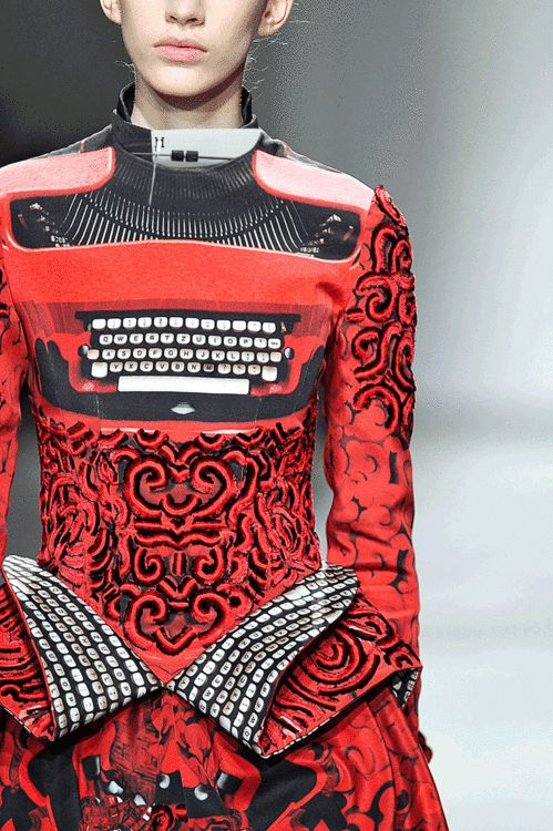 Typewriter Dress - fashion with a message... quirky fashion design; sculptural fashion; fashion meets art // Mary Katrantzou