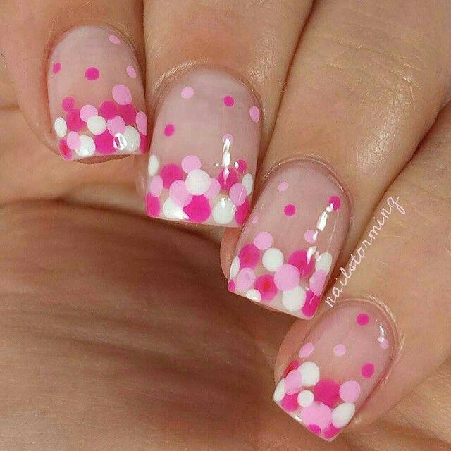 Pink polka dot manicure
