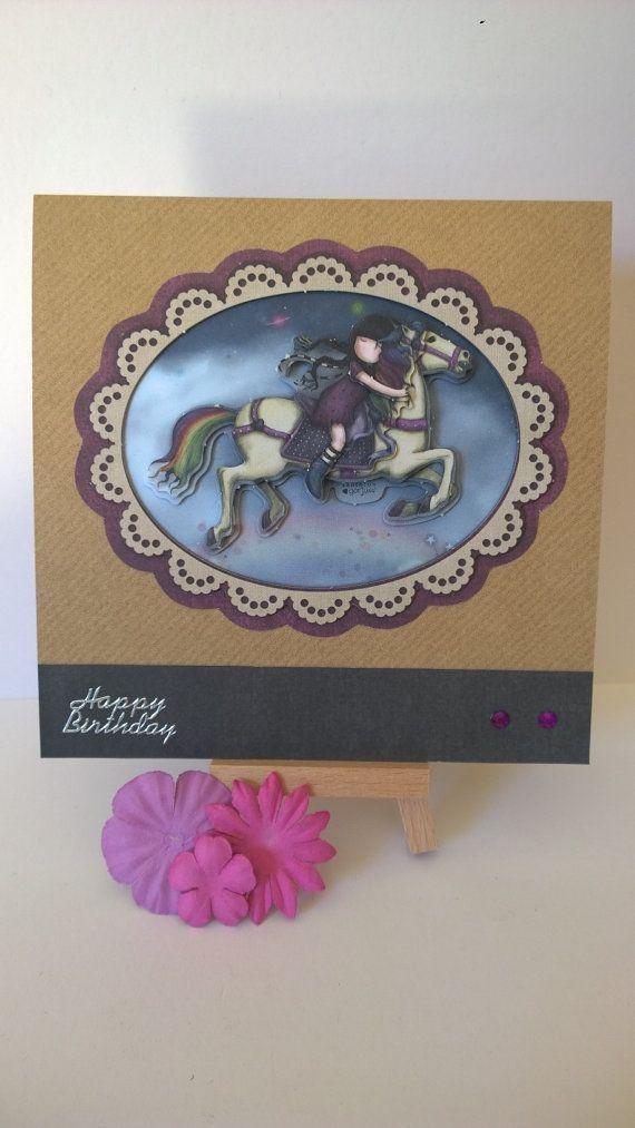 Handmade decoupaged girl on horse birthday card by Lazymitts