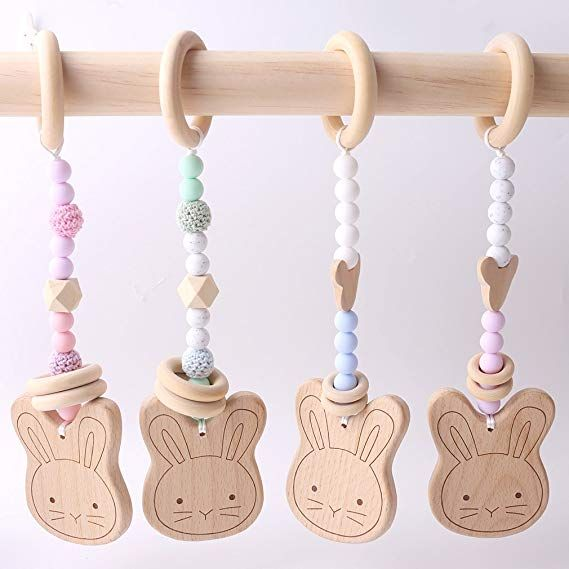 Wooden Safe Natural Cute Animal Shape Ring Baby Teether Teething Shower Toy  VX