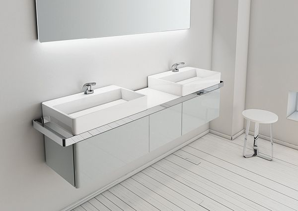 A suspended module without foot. Structure collection by Inbani. #bathroom #furniture