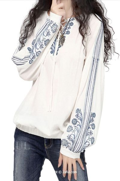 Flower Embroidery Long Sleeves Blouse