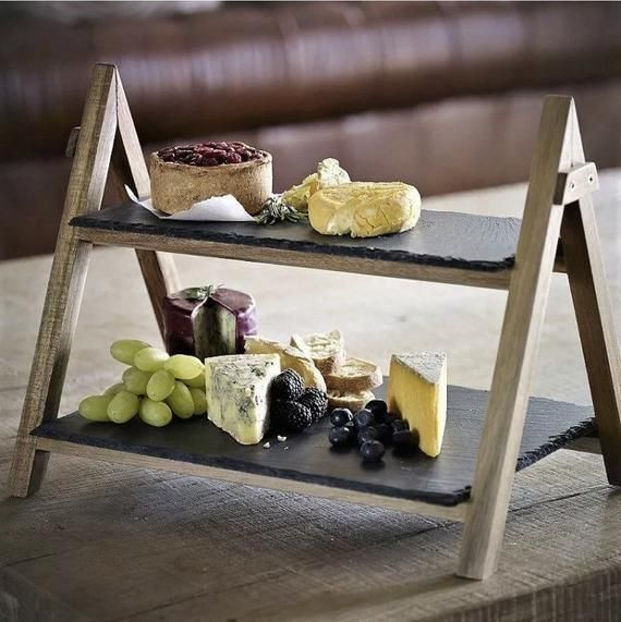 Homevibes 2-Tier Slate Cake Stand ,Cheese Board Antipasti Platter , Tiered Serving Display Stand ,Rustic Serving Platter , Slate Wedding Cake Stand