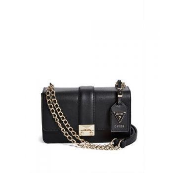Geanta de mana Genti Femei GUESS Aria Box Shoulder Bag black de dama de culoare neagra