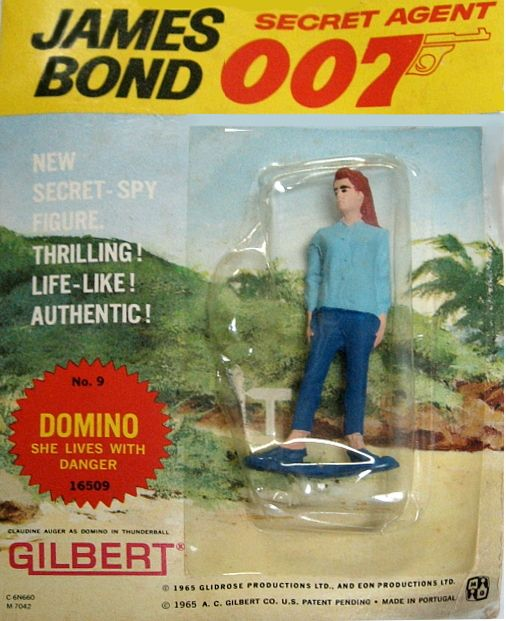 "Original 1965 James Bond ""Domino"" Action Figure, by Gilbert. AUTHENTIC 1965 figure of ""Domino"", one of 007's ladies in ""Thunderball"" MINT ON SEALED CARD!! These Gilbert action figures and some of the toys and playsets they came out with in the same time period were among the FIRST OFFICIALLY-LICENSED JAMES BOND TOYS! Only one in stock. $75.00"