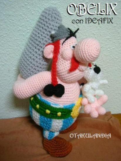 obelix, ideafix y su menhir - crochet  lana acrílica crochet  ganchillo