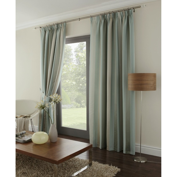 KAROK THICK HEAVYWEIGHT STRIPED DUCK EGG BLUE BEIGE LINED RING TOP CURTAINS 66 X 54